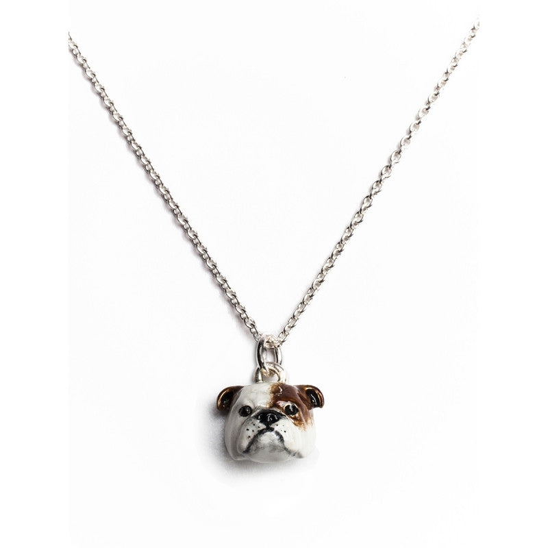 Dog Fever - English Bulldog- Dog Pendant in Sterling Silver and Enamel