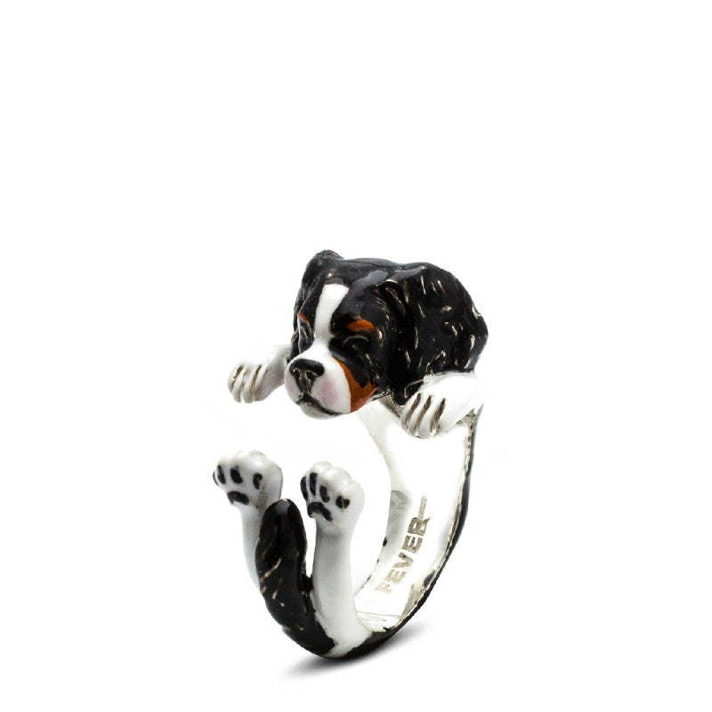 Dog Fever - Cavalier King - Dog Ring in Sterling Silver and Enamel