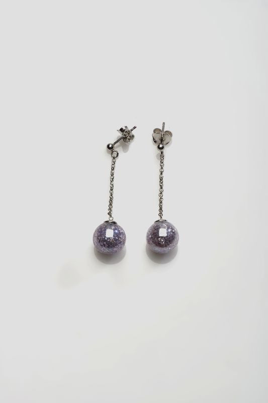 Antica Murrina - Nereide, Murano Glass Set, Stainless Steel Purple Bead Drop Earrings