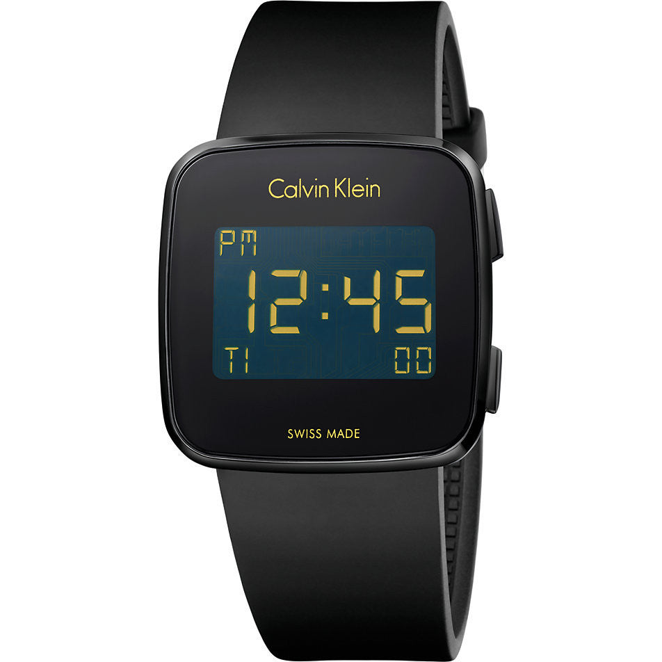 Calvin Klein - Unisex Future, Rubber Strap with Black Ion-plated Steel LCD Dial Watch