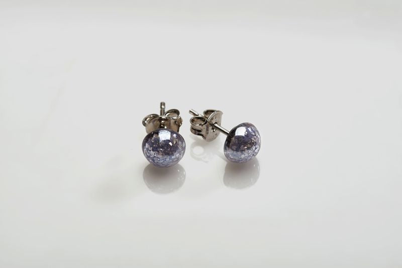 Antica Murrina - Nereide, Murano Glass Set, Stainless Steel Purple Bead Stud Earrings