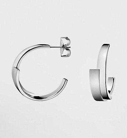 Calvin Klein - Stainless Steel and Brushed Sterling Silver Hoop Earrings