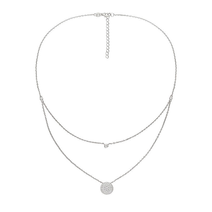 Folli Follie - Cubic Zirconia Set, Sterling Silver Double Chain Circle Pendant Necklace
