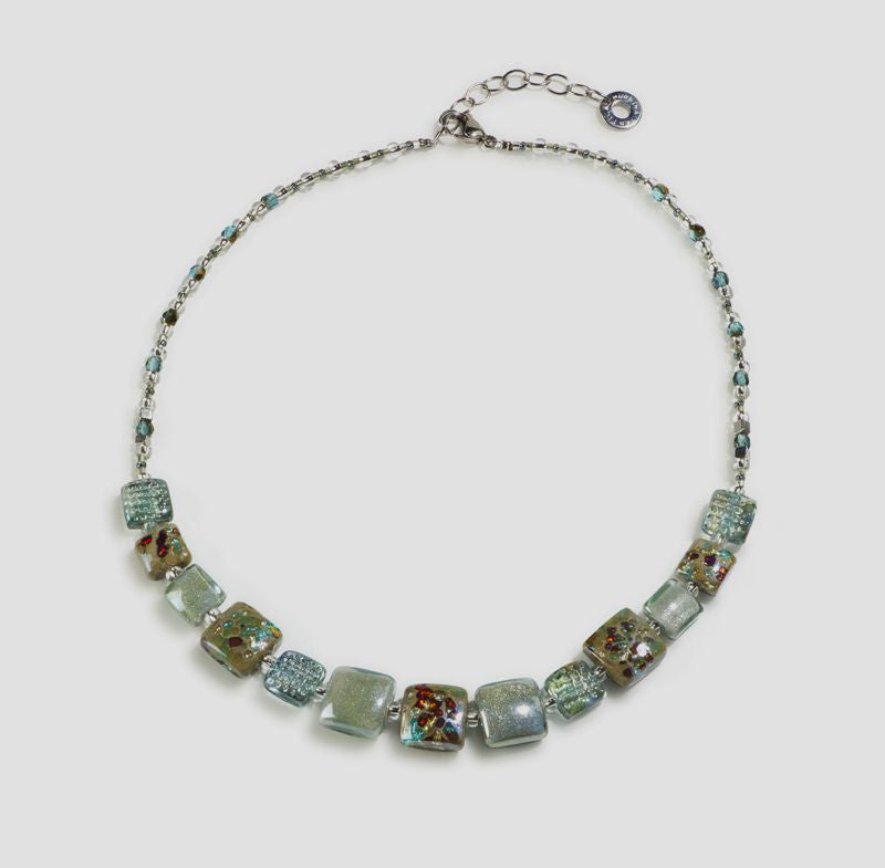 Antica Murrina - Byzantium, Murano Glass Set, Stainless Steel Grey/Blue Bead Necklace