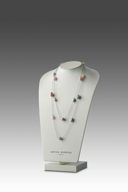 Antica Murrina - Rezzonico, Murano Glass Set, Stainless Steel Blue and Pink Bead Necklace