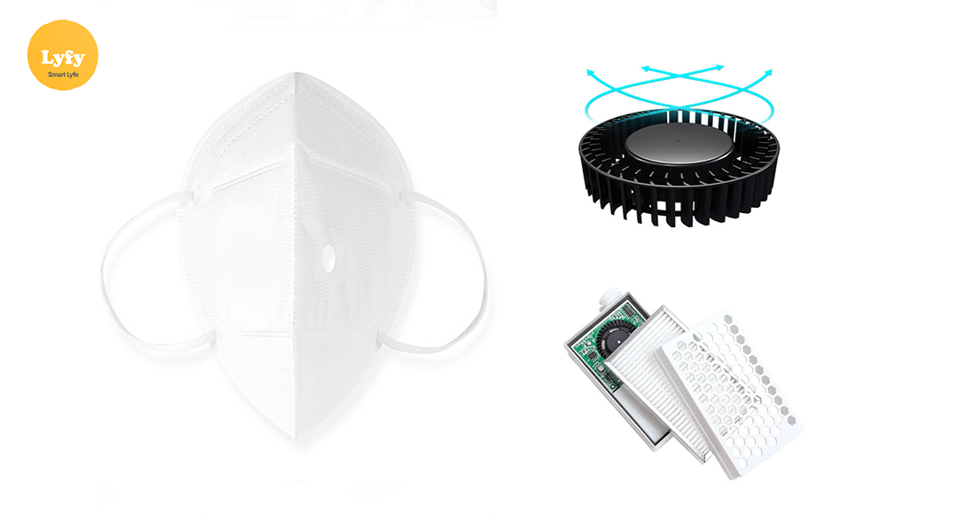 Lyfy PM2.5 HEPA Mask filtrates 99.97% particles, Ventilates with Fan and Mask Respirator valve.