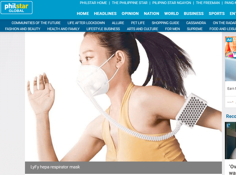 LyFy Hepa Respirator Mask Featured in PhilStar.com