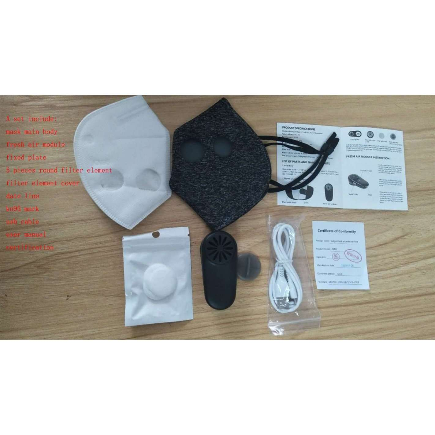 Fan-Powered Face Mask - 3-speed Motorized Fan - Reusable Unisex Fresh Air Purifier Masks - Lyfy-FAN-MASK-GREY - lyfy.co
