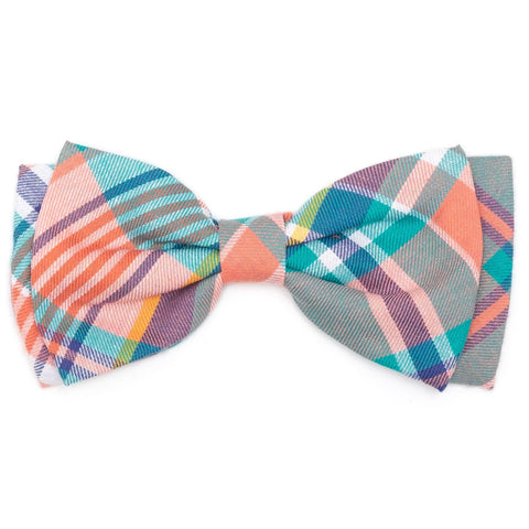 Peach Multi Plaid Bow Tie