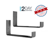 2 Pack - Hook Shelf Brackets (Multiple Sizes Available)