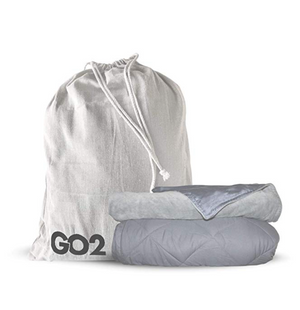 GO2 Weighted Blanket | 15lb Travel Friendly Throw Size w/Cooling Bamboo and Minky Cover | Great for Kids and Adults (Combo,Gray)