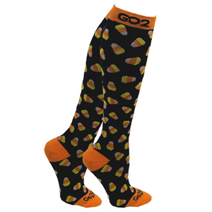Holiday Compression Socks Unisex | Holiday Candy Corn Black
