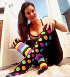 Compression Socks Unisex | Medium Compression | Black with Multi-Color Stripes