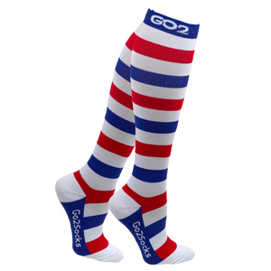 Holiday Compression Socks Unisex | Red, White, and Blue Stripe