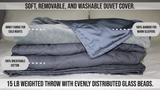 Weighted Throw Blanket | 15 lb Travel Friendly Throw Size w/ Cooling Bamboo and Minky Cover