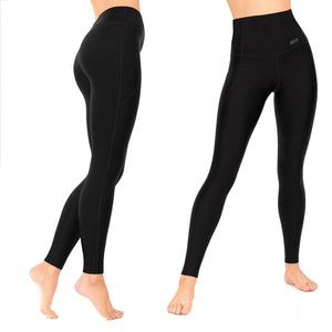 Light Compression Leggings | High Waist Tummy Control, Smartphone Pockets, Black Full Length Yoga Pants