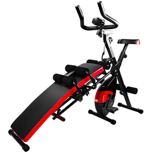 Multi functional supine board and dynamic bicycle combination fitness equipment