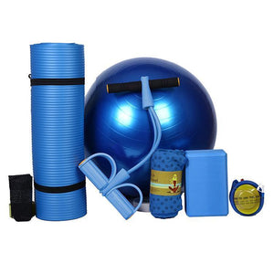 5-Pieces Yoga Starter Kit, Yoga Mat, Ball, Band, Towel, Bricks five piece suit