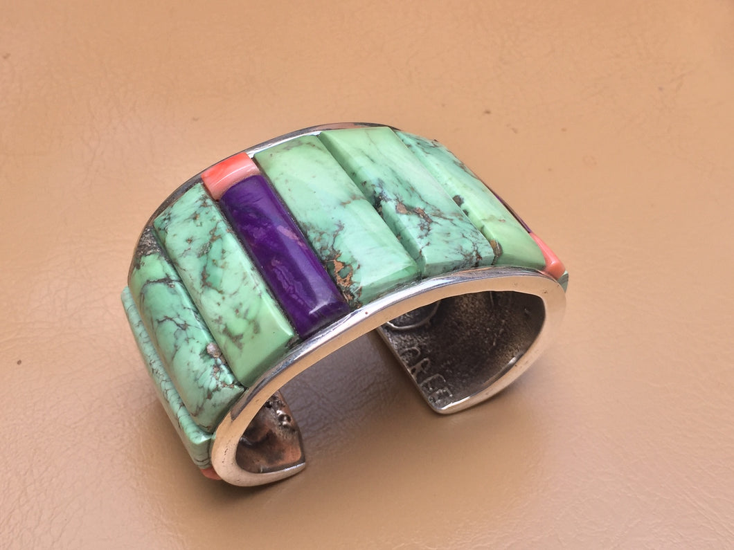 Sterling Silver Tufa Cast Inlaid Bracelet