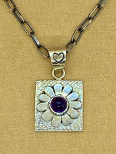 Load image into Gallery viewer, Cuttle Bone Cast & Fabricated Amethyst Flower Pendant