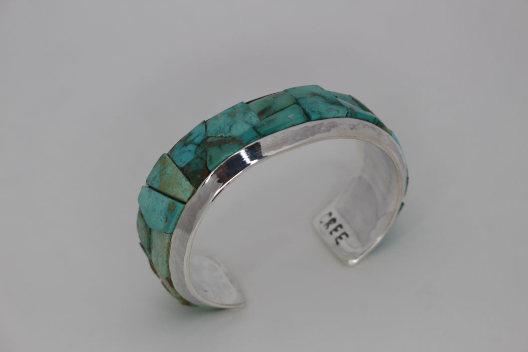 Fabricated Sterling Silver Inlaid Bracelet