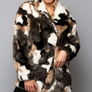 GLOBAL MOOD CAMO MARBLE FAUX FUR COAT