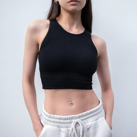 GLOBAL MOOD SPORTY BLACK CROP TANK TOP