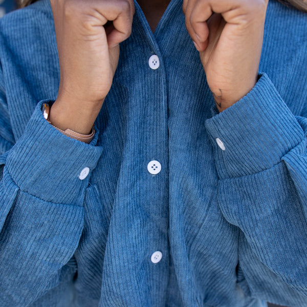 BLUE corduroy long sleeve button up MOOD GLOBAL