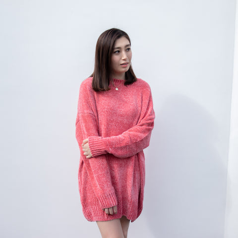 GLOBAL MOOD DUSTY PINK OVERSIZED SWEATER (PLUS SIZE)