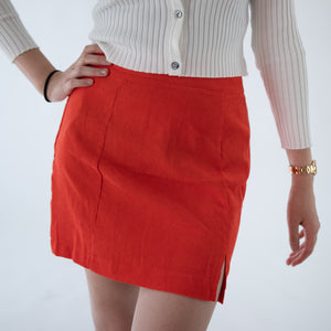 GLOBAL MOOD Orange slit skirt