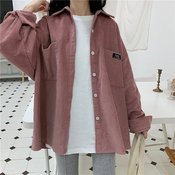Pink corduroy long sleeve button up MOOD GLOBAL