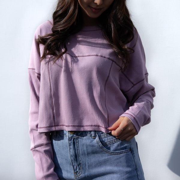 WINTER MOOD BASIC Loose Purple crop long sleeve