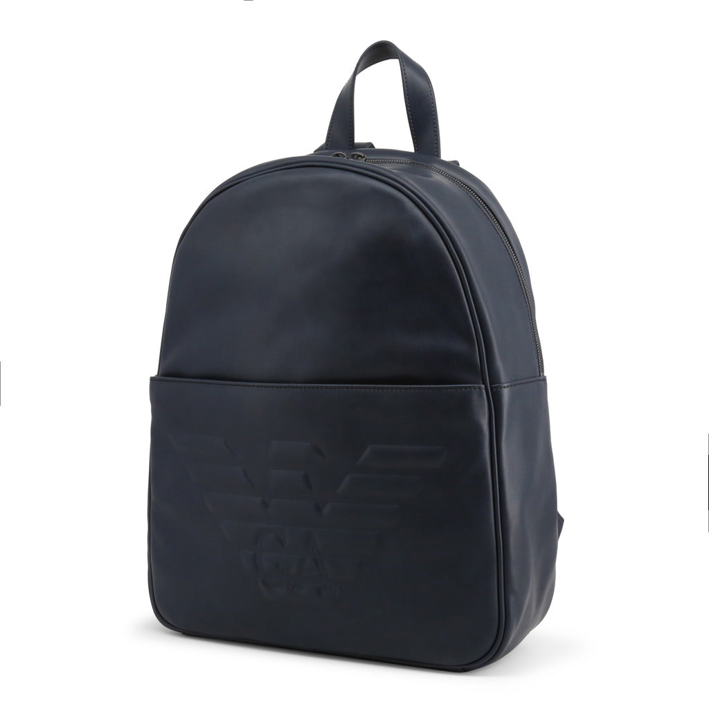 Emporio Armani - MEN'S LEATHER BACKPACK, BLUE
