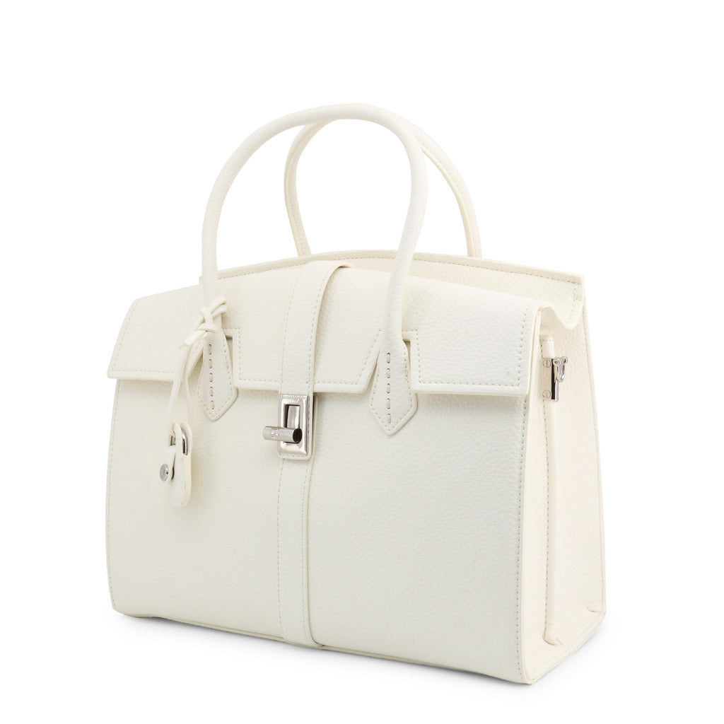Trussardi - square white handle bag