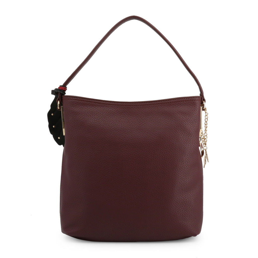 Trussardi - maroon square shoulder bag