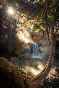 Thermal Waterfall Misty Sunlight