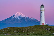 Load image into Gallery viewer, Mount Taranaki & Cape Egmont Lighthouse at dusk