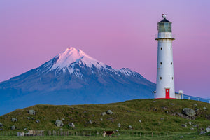 Mount Taranaki & Cape Egmont Lighthouse at dusk