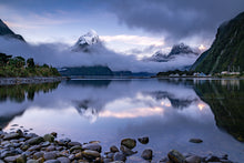 Load image into Gallery viewer, Morning mist and fresh snowfall, Milford Sound