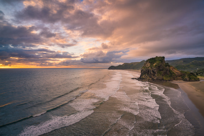Piha Beach Golden Evening