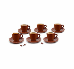 Set of 6 Brown Espresso Cups