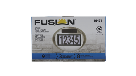 Fusion solar wall mount house number