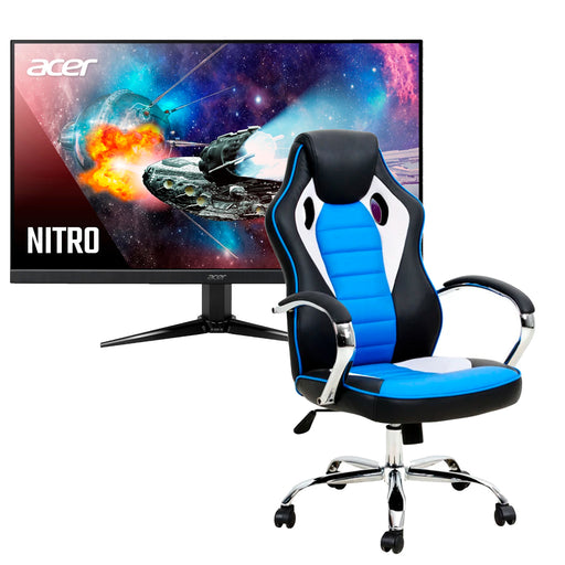 Combo Silla Gamer Rookie Azul Reclinable + Monitor Gamer Acer Full HD