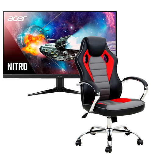 Combo Silla Gamer Rookie Roja Reclinable + Monitor Gamer Acer Full HD