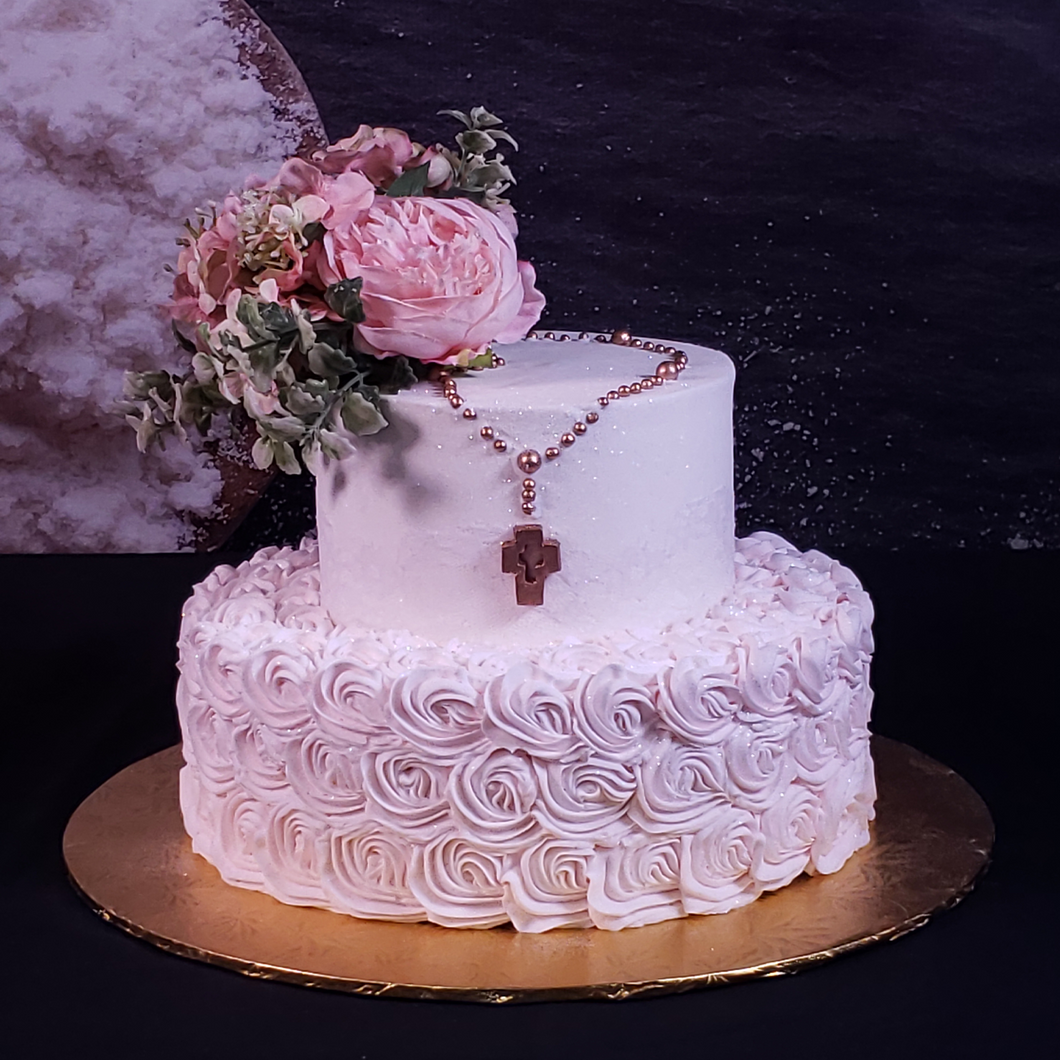 Cross with Rosettes Cake