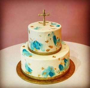 Gold Leaf with Cross Cake