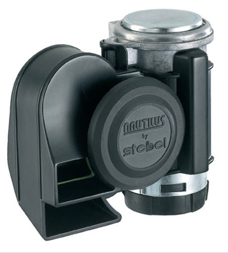 Stebel Nautilus Compact Dual-Tone 12-Volt Motorcycle Air Horn, 139 dB, Black