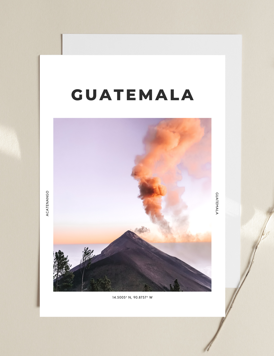 Guatemala 'Orange Mist' Print - TheTravelEdit Travel Print Poster Wall Art Prints Living Room Decor