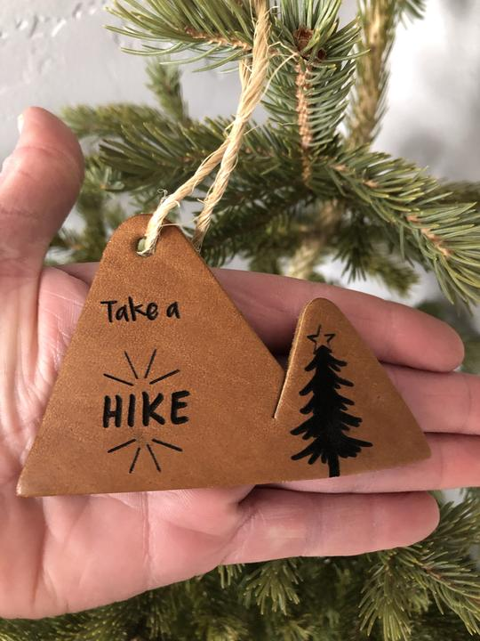 Take a Hike Leather Ornament