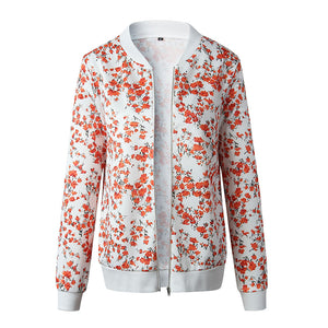 Jacket Women 2019 Autumn Long Sleeve Vintage Floral Coat Women Casual O Neck Zipper Bomber Jackets Ladies Outwear Veste Femme